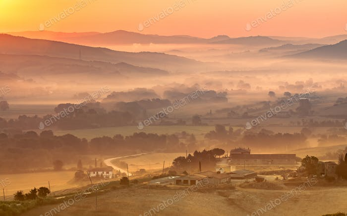 Tuscan Farm during Sunrise, Italy