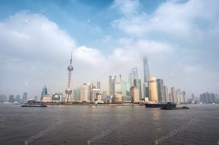 shanghai skyline with cloudscape