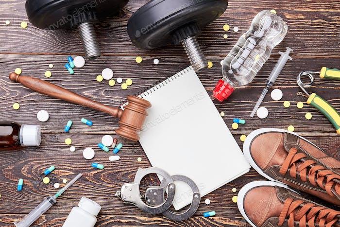 Equipamiento de fitness, píldoras, vista superior