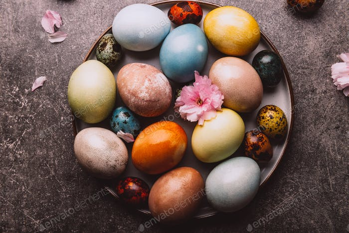 Homemade naturally dyed eggs.