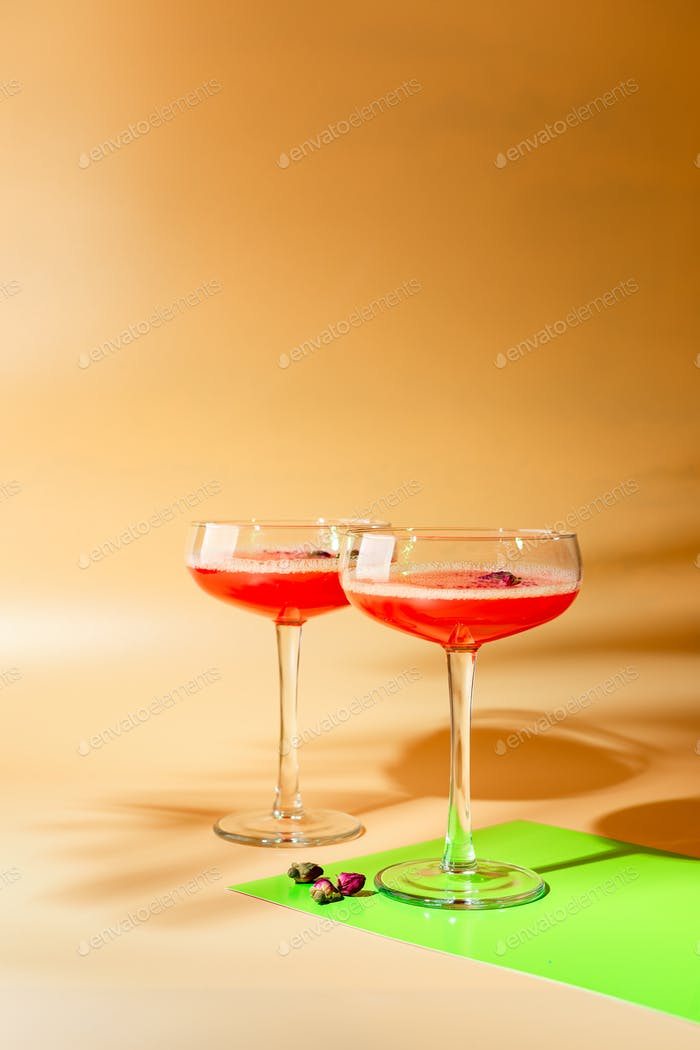 Pink Raspberry Cocktail in drink glass