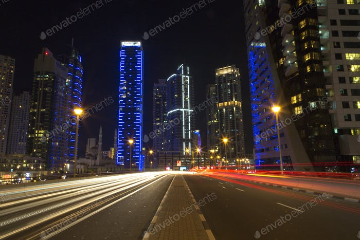 Night city skyline in Marina district, Dubai