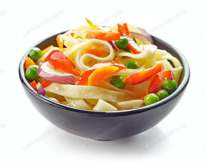 Bowl of egg noodles with vegetables