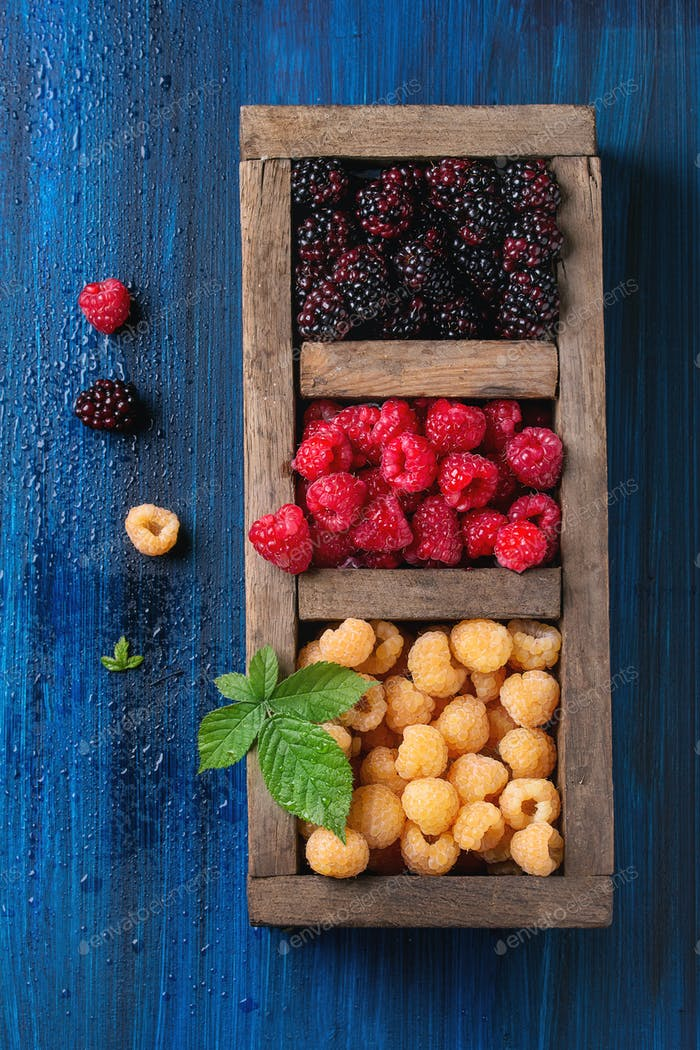 Heap of colorful raspberries
