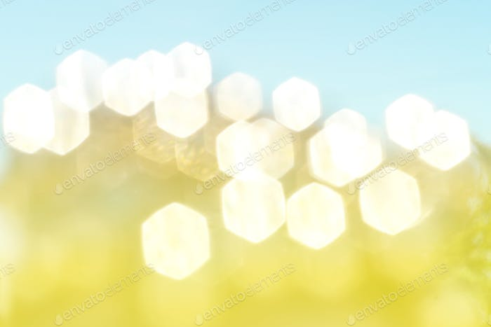 Soft lights hexagon bokeh background.