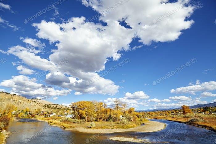Beautiful autumn landscape with Eagle River, USA.
