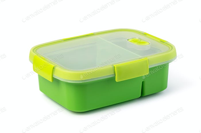 Plastic food box on white background