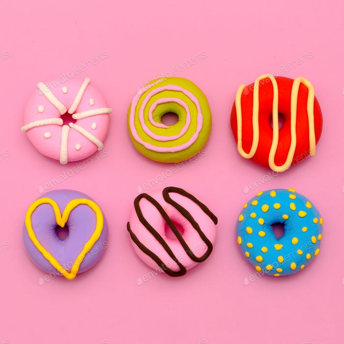 Donut Set.  Sweet Candy Minimal Flatlay art.