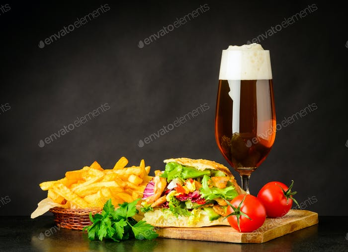 Doner Kebap Sandwich with Beer and French Fries