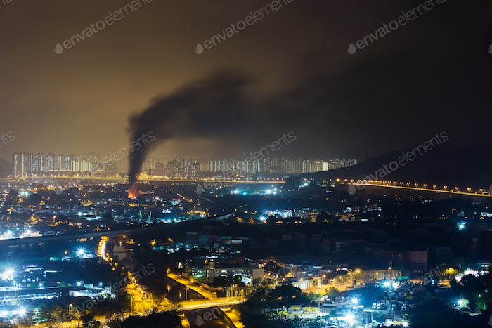 Fire accident in city at night