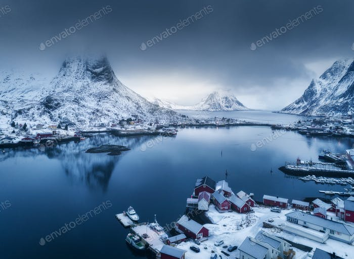 Aerial view of Reine in overcast day in winter in Lofoten, Norway