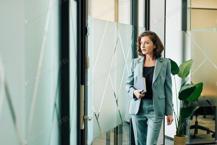 Caucasian Businesswoman In Office Building