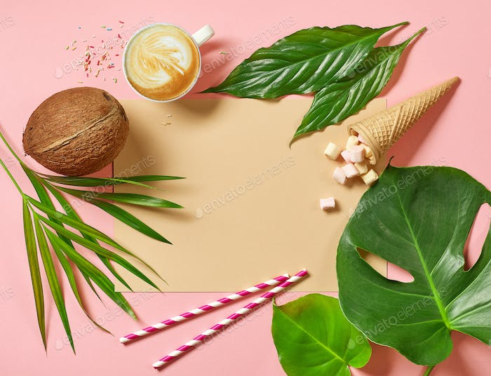 holidays background with tropical leaves