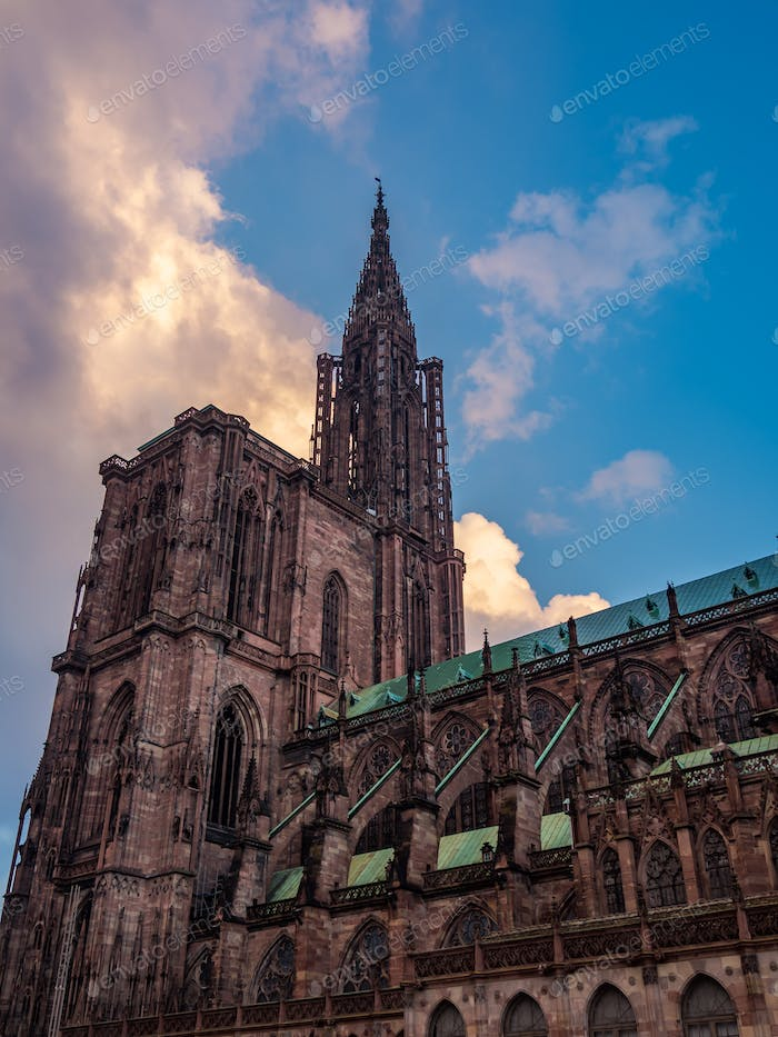 Outside of the Notre dane de Strasbourg Cathedral in Alsace