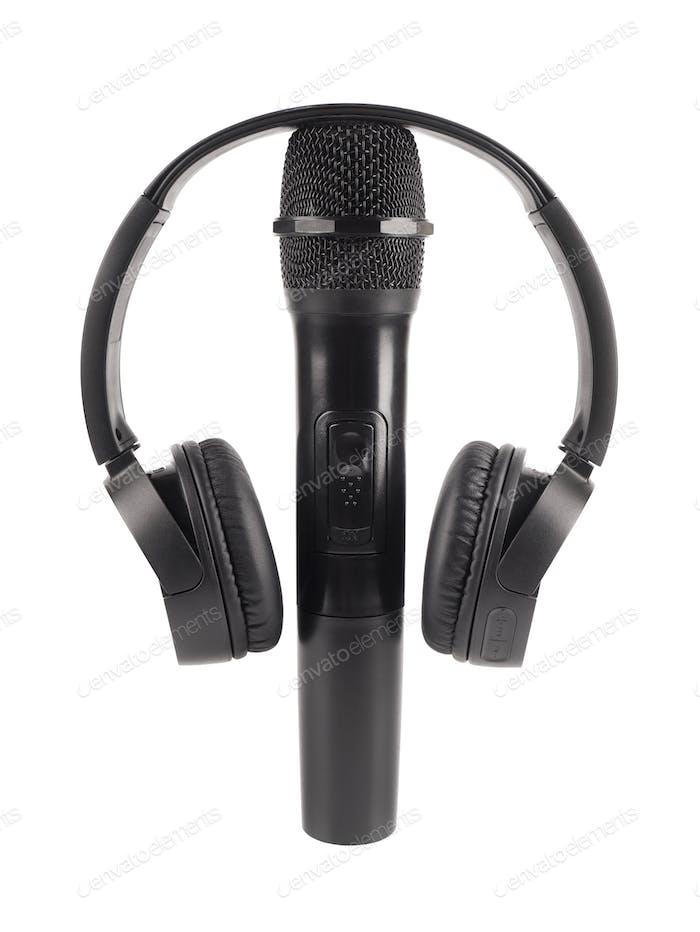 Kabelloses Mikrofon und Kopfhörer