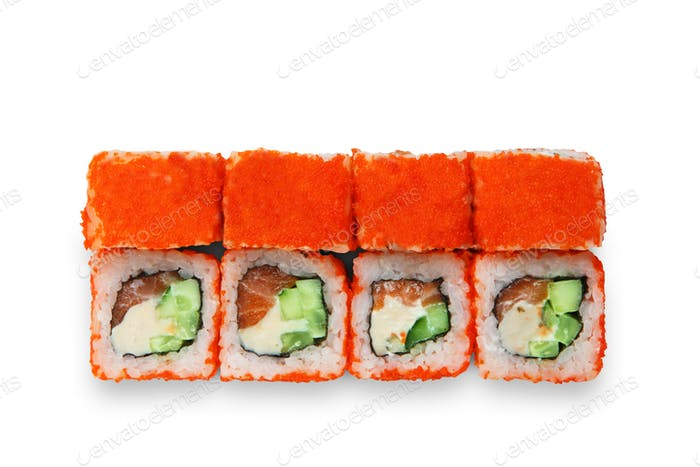 Set of sushi rolls isolated at white