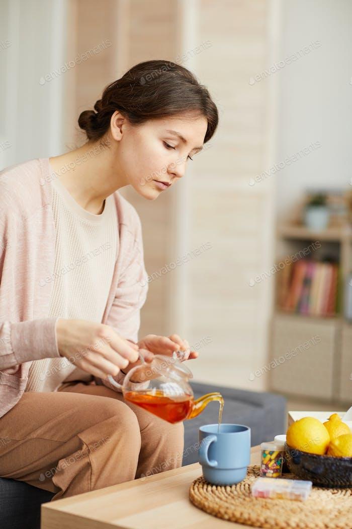 Woman enjoying the tea