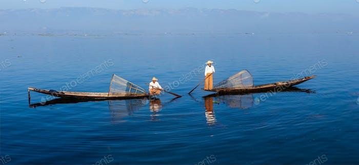 Traditional Burmese fishermen at Inle lake