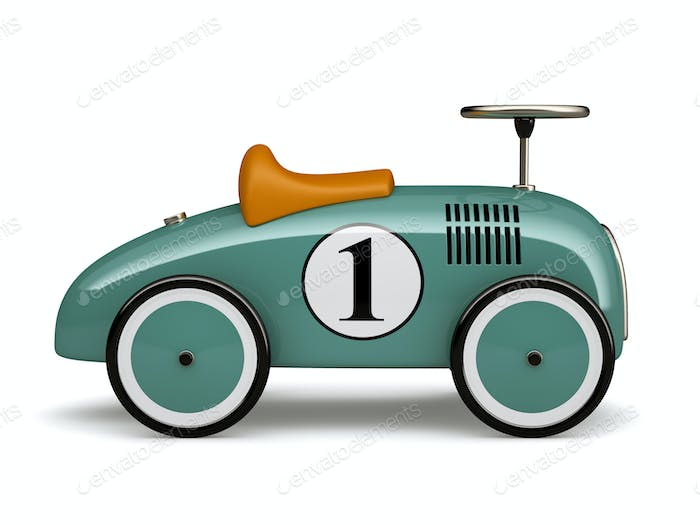Cyan retro toy car number one isolated on white background