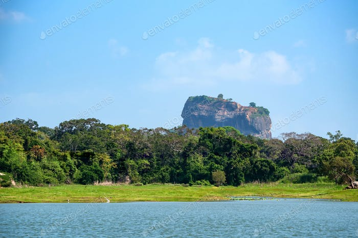 View of Sigiriya Rock or Lion Rock in Sri Lanka