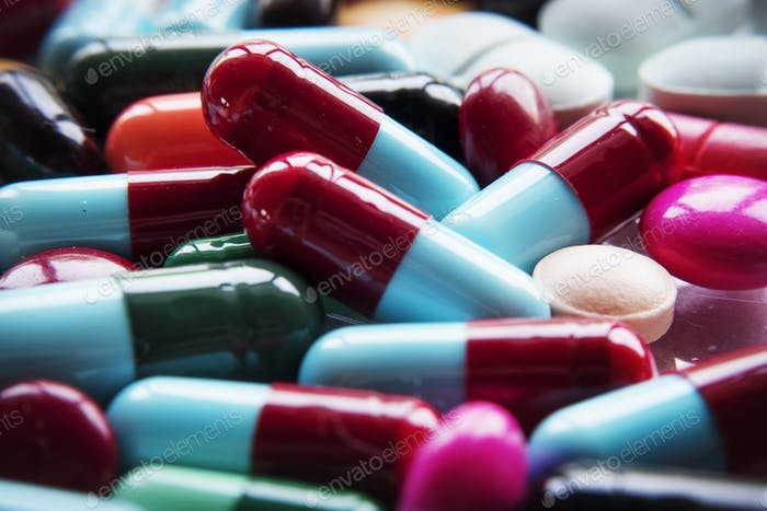 Closeup of various medical pills pharmaceutical