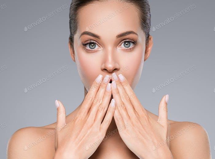 Emotional beauty woman face healthy skin natural make up