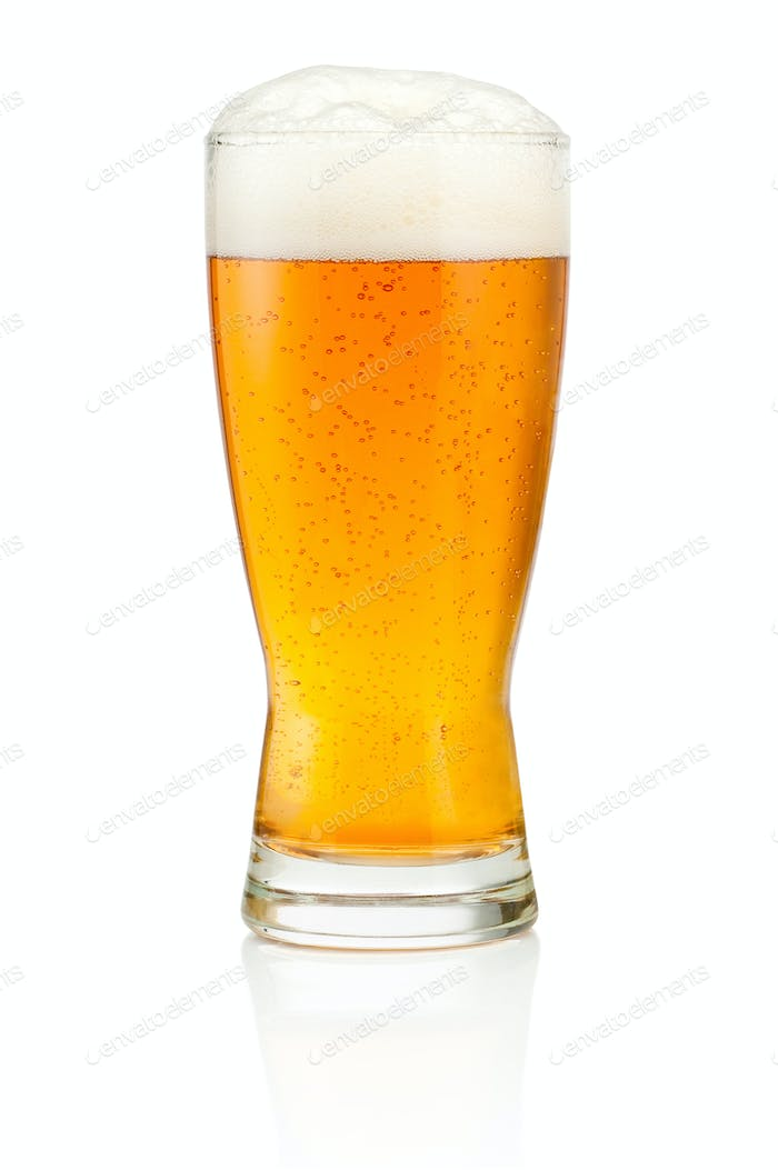 Glass of fresh beer isolated on white background