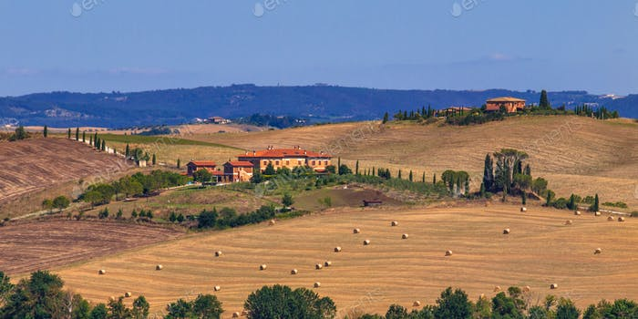 Tuscany Hilly Landscape with Farms and Villas