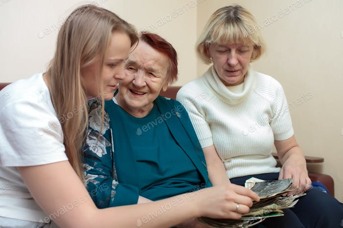 Grandmother, mom and daughter bonding