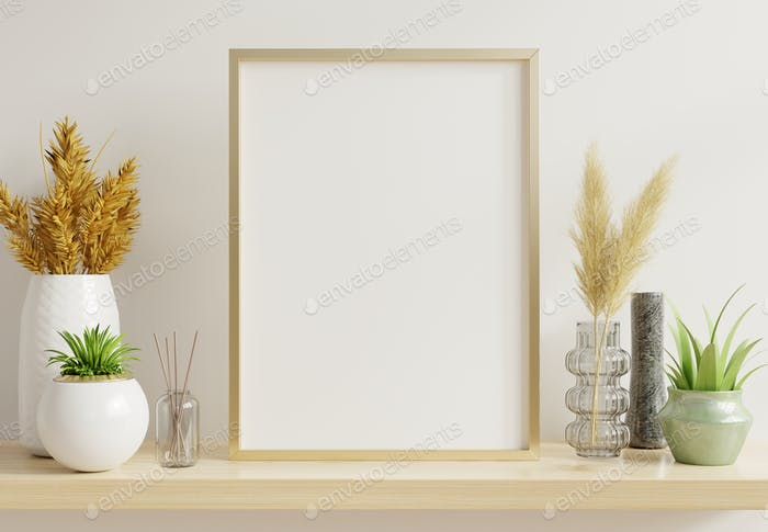 Home interior poster mock up with vertical gold frame.