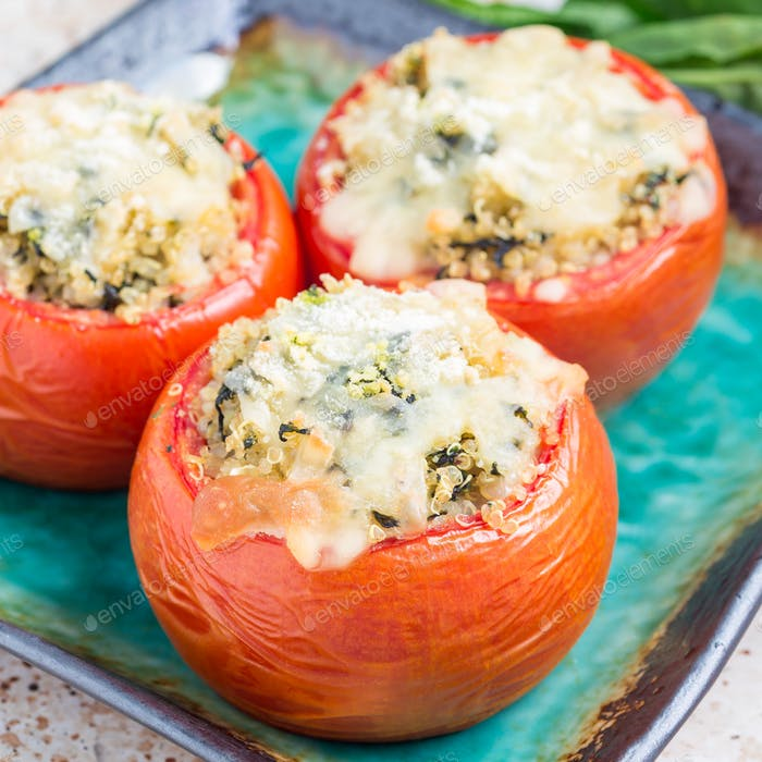Baked tomatoes stuffed with quinoa, square format
