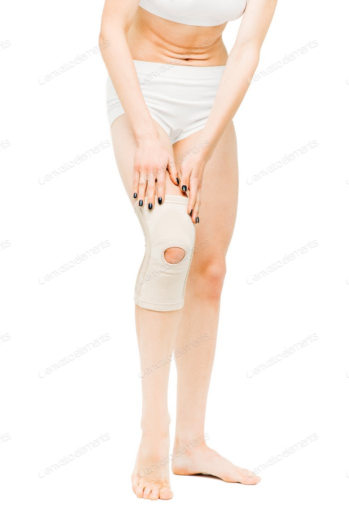 Joint Ache Woman With Elastic Bandage Knee Pain Photo By
