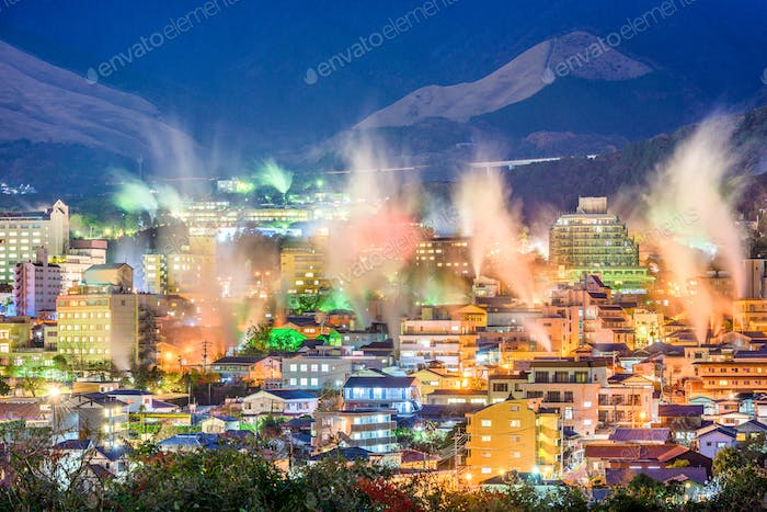Beppu, Japan cityscape with hot spring bath houses