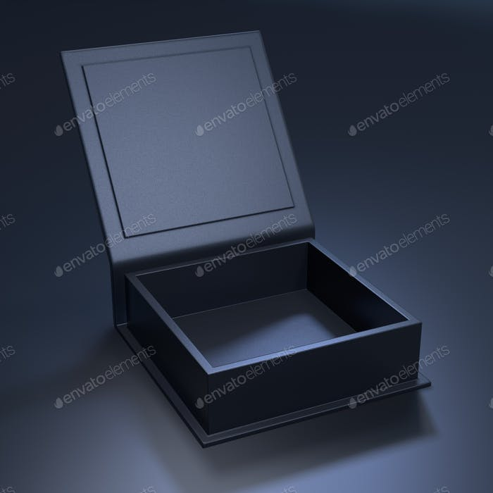 Black blank open cardboard box on a dark background. Mock up template.