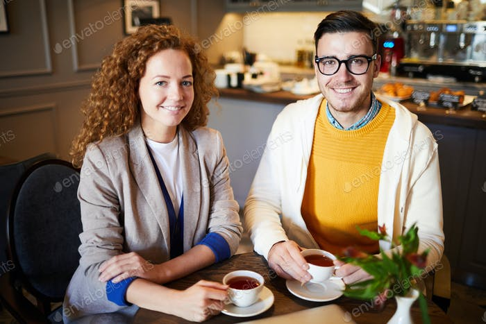 Tea break in cafe
