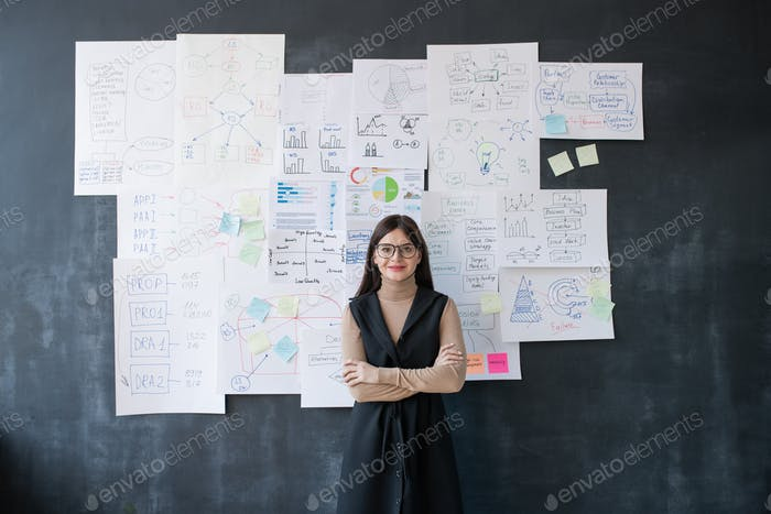Elegant female economist standing by blackboard with flow charts and diagrams