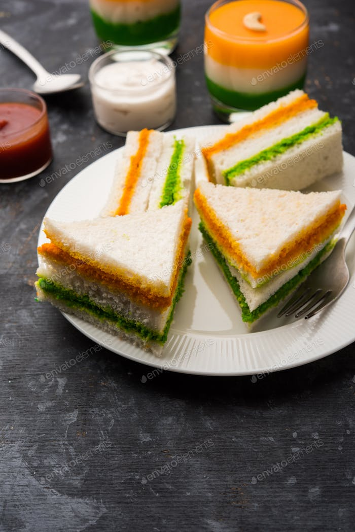 Tricolour sandwich using colours from Indian flag for Independence or republic day
