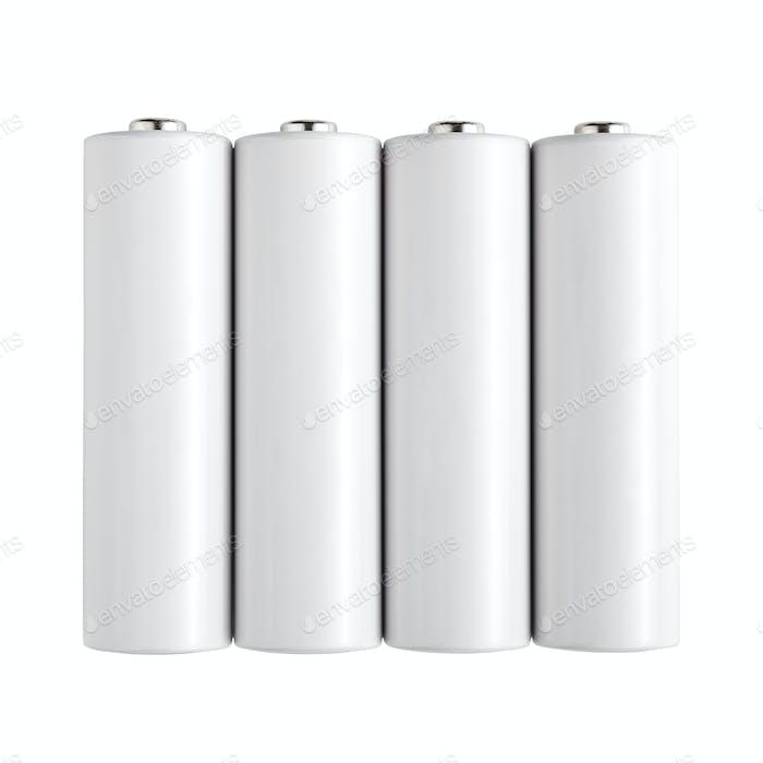 Batterien auf weißem Hintergrund isoliert