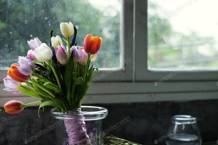 Fresh Tulips Flowers Arrangement Decorative