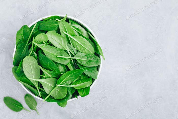 Fresh Spinach Leaves. Raw Spinach in a bowl for vegetarian or vegan salad or smoothie.