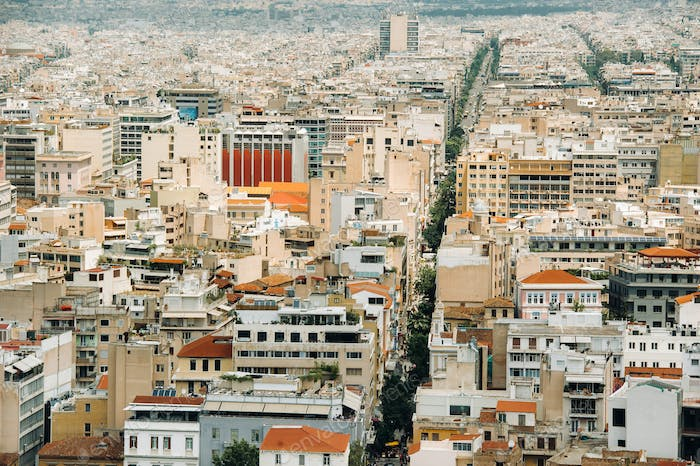 Urban landscape of Athens.View of the city from the hill. Athens, Greece