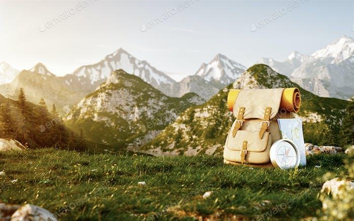 Touristische Rucksack mit Karte und Kompass