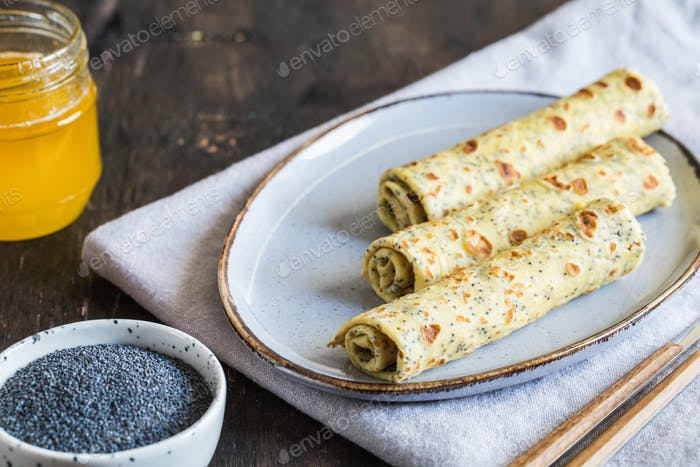 poppy seed crepes (blinis). pancakes with poppy seeds
