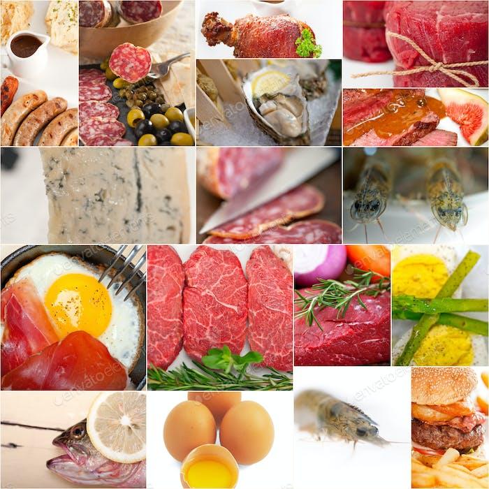 High-Protein-Collage zur LebensmittelSammlung