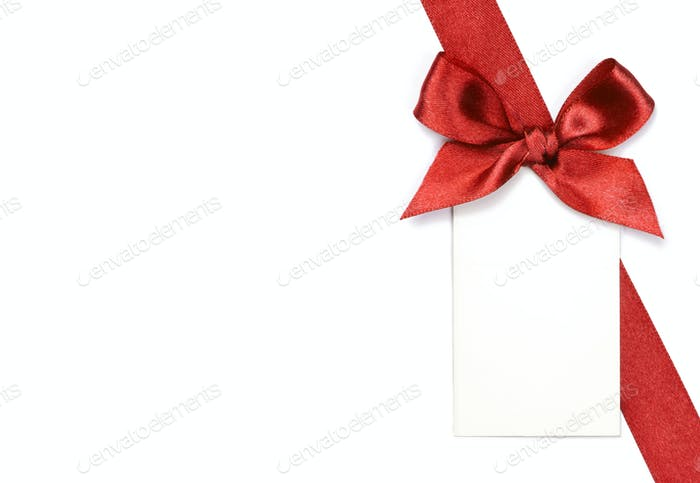 Red ribbon with bow and card