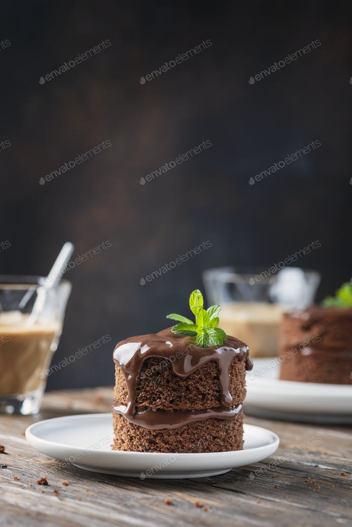 Chocolate mini cake on the wooden table
