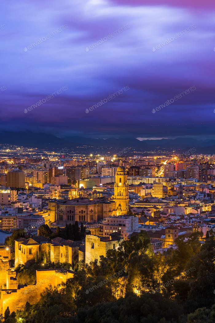 Malaga cathedral and cityscape at twilight