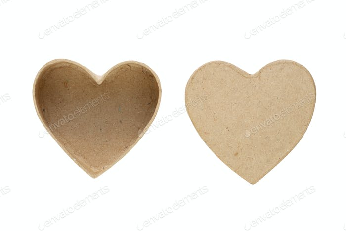 Small box and cover in shape of heart isolated on white background