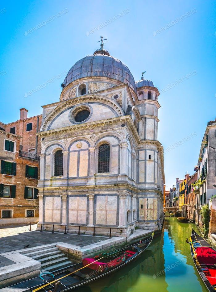 Venice church Santa Maria dei Miracoli, gondolas and water canal