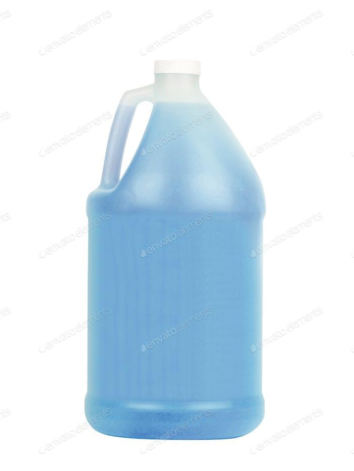 Blue plastic bottle for liquid laundry detergent isolated on white background